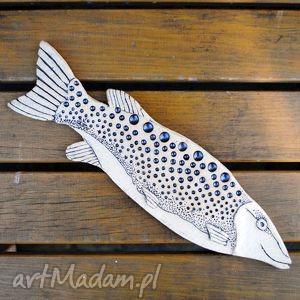 Nakrapiana A - ceramiczna ryba na ścianę, unikat, ceramika, dekor, użytkowe,