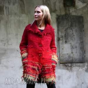 sweter czerwono zielony kudłacz, unikat, dzianina, płaszcz, prezent, wełna