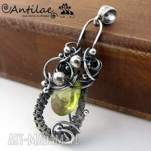 limon - kwarc cytrynowy, srebro, wisior, kwarc, wirewrapping