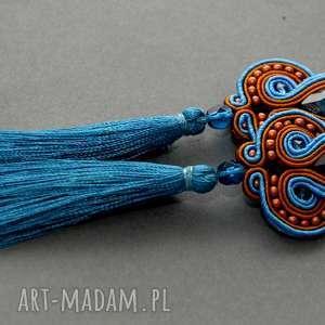 kolczyki sutasz z chwostami, sznurek, eleganckie, wiszące, turkusowe, szkło
