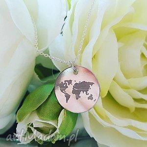 Naszyjnik kontynenty świat, łańcuszek, blaszka, globus, kontynenty, medalion
