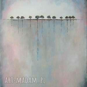 obraz na płótnie - drzewa w szarościach 25/30 cm, abstrakcja, szary, obraz