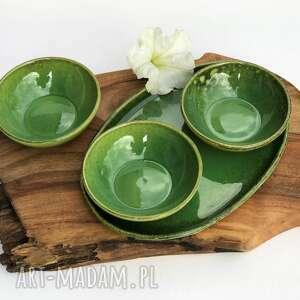 zestaw - talerz ceramiczny plus miseczki 3 szt, ceramika, patera