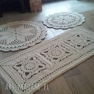 komplet 3 dywanów, dywan szydełkowy, ze sznurka, okrągły