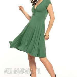 sukienki zwiewna sukienka z dekoltem v, t312, zielona