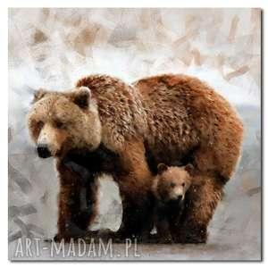 obraz misie 3 - 100x100cm na płótnie niedźwiedzie, obraz, misie