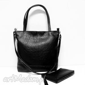 unikalny prezent, na ramię shopper bag, czarna, shopper, klasyczna, modna, skórzana