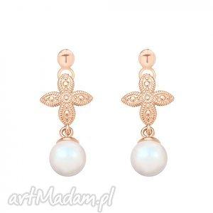 hand-made kolczyki kolczyki z różowego złota z rozetką i opalizującą perłą swarovski® crystal
