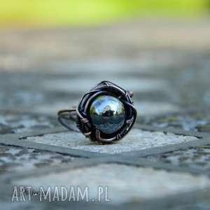 Prezent Merkury - pierścionek z hematytem w regulowanym rozmiarze, pierścionek-duży