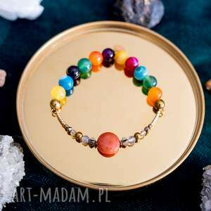 w hand works kolorowa bransoletka high z agatów cytrynów i złotych hematytów