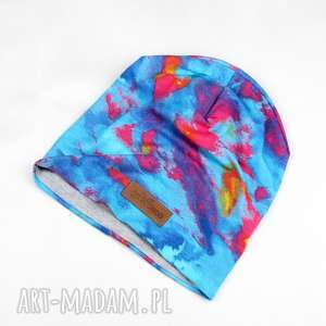 kolorowa turkusowa czapka beanie ciepła unisex - czapka, kolorowa, ciepła, beanie
