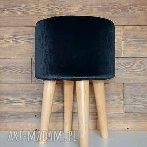 świąteczne prezenty, pufa czarny plusz - 45 cm, puf, stołek, taboret, ryczka