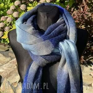 szaliki ciepły duży szal z wełną odcienie niebieskiego 40 x 220 cm, szal