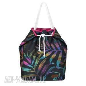 torebki duża pojemna, pakowna torba plażowa w palmy, plażowa