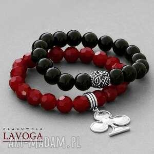 red crystal & black agathe set - zawieszka, trefl
