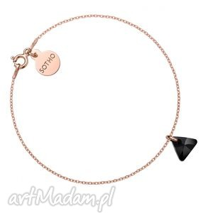 bransoletki bransoletka z różowego złota czarnym kryształowym trójkącikiem