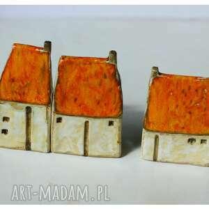 ceramika domki wiejska zagroda pomarańczowe, ceramika, domki, zagroda, wieś