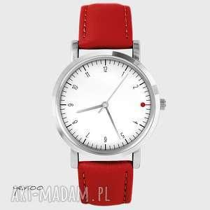 Prezent Zegarek - Simple elegance, biały czerwony, skórzany, zegarek, bransoletka