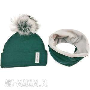 handmade czapki komplet zimowy - czapka z pomponem i komin podszyty polarem - kolor: zieleń/ciemna zieleń