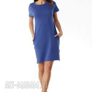 Sukienka dresowa z zamkami niebieska sukienki ella dora polski