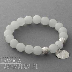 handmade bransoletki mat quartz with pendant in white