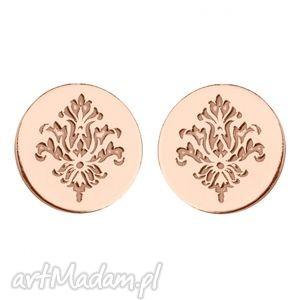 sotho kolczyki kółeczka z rozetą z różowego złota