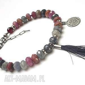 sapphire and ruby mix vol.2 , szafiry, rubiny, agaty, srebro, oksydowane, chwost