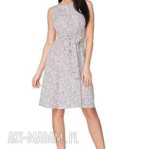Sukienka 2w1 wiązana na kokardę T233, kwiatuszki - łączka, elegancka