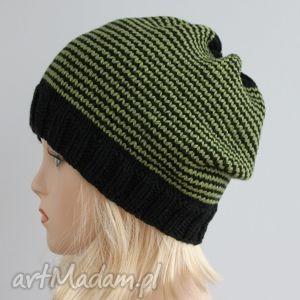 czapka w paski - paski, khaki, czarny, czapka, zimowa, unisex