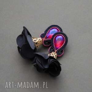klipsy sutasz z kwiatkiem, sznurek, fuksja, wiszące, granatowe, eleganckie