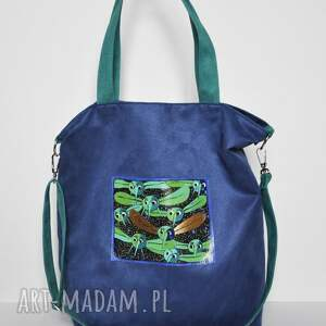 torba hobo xxl - ręcznie malowana, ważki, wegańska