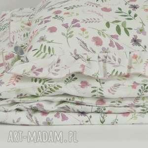 Pościel z falbanką 100x135 Akwarelowe kwiatki, pościel-dziecięca, poszewki-na-pościel