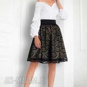 spódnica rozkloszowana z koronki, spódnica, koronkowa, czarna, elegancka