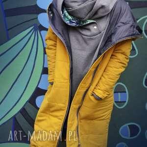 Oversize żółta pikowana zimowa kurtka z duzym kapturem rozmiar