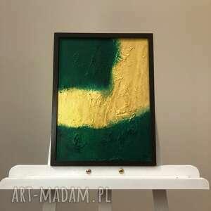 obraz 30x40cm deco złoto zieleń, dekoracja, panel, obraz, złoto