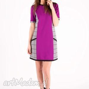 świąteczny prezent, sukienka fuchsia check dress, sukienka, luźna, kratka, kieszenie