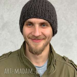 ciepła męska czapka z merino, wełnianaczapka merynos, nadrutach