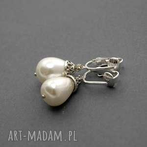 klipsy z perłą seashell, perełka, eleganckie, wiszące, wieczorowe, perłowe, łezka