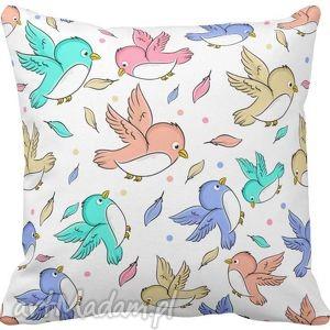 handmade pokoik dziecka poszewka na poduszkę dziecięca kolorowe ptaszki 3063