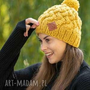 happy pikantna musztarda czapka, zimowa, wełniana zima, wełna ręcznierobione