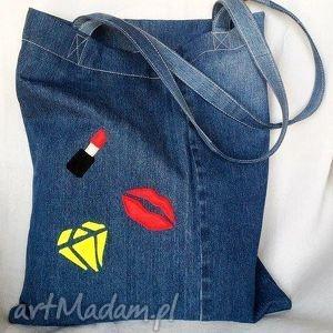 Eko Torba z Naszywkami, eko-torba, jeans, recykling, szminka, usta, diament