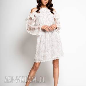 myoko hana - mała biała jedwabna sukienka, sukienka na lato