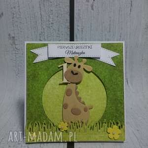 kartka zaproszenie żyrafka na urlopie - żyrafka, chrzest, urodziny, roczek