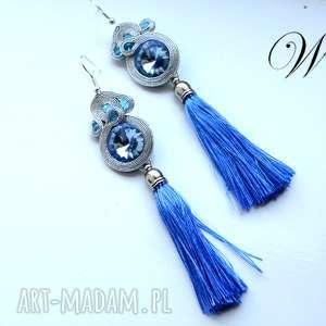 ręcznie zrobione kolczyki kolczyki sutasz niebiesko srebrne z chwostami