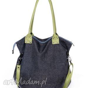 Torba worek denim&olive na ramię pracownia mana torba, torebka, szara,