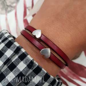 bransoletka skórzana magnetoos double heart bordo, bransoletka, skóra, magnes