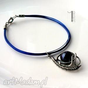 Arachne - Ingel srebrna bransoleta z perłą, wirewrapping, srebro, perła, ażurowa