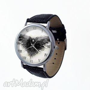 gra o tron - skórzany zegarek z dużą, serial wrona