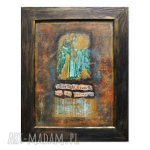 light, obraz w technice mieszanej, collage, anioł ramie, obraz, ręcznie