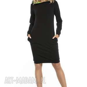 Sukienka sportowa z kapturem i kieszeniami, T249, czarny zielony, sukienka,